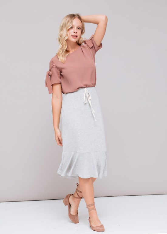 Midi Pencil Skirt With Ruffle Hem