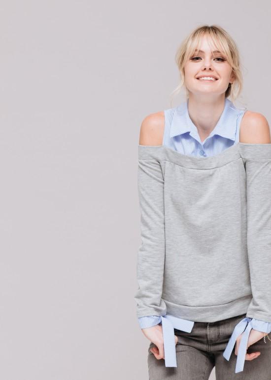 Collared Open Shoulder Sweatshirt