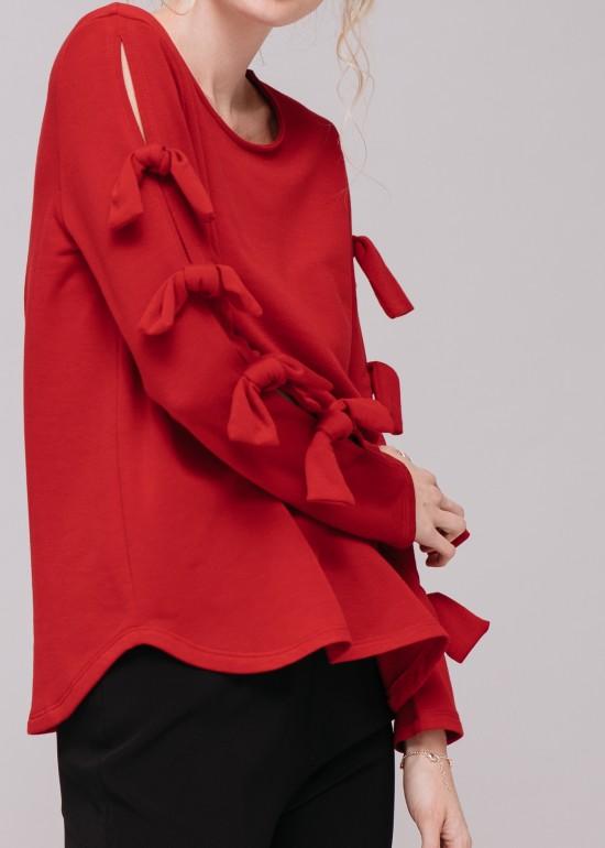 Tied Sleeve Soft Sweater