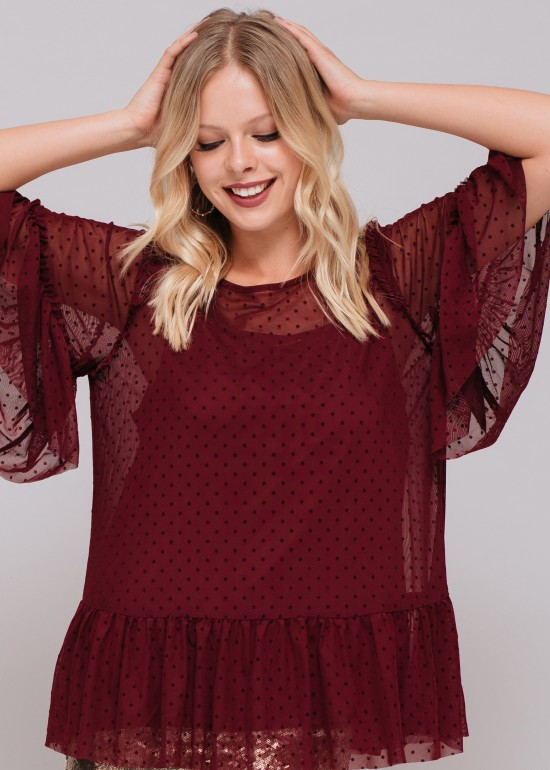 Lacey Dotted Mesh Bell Sleeve Top