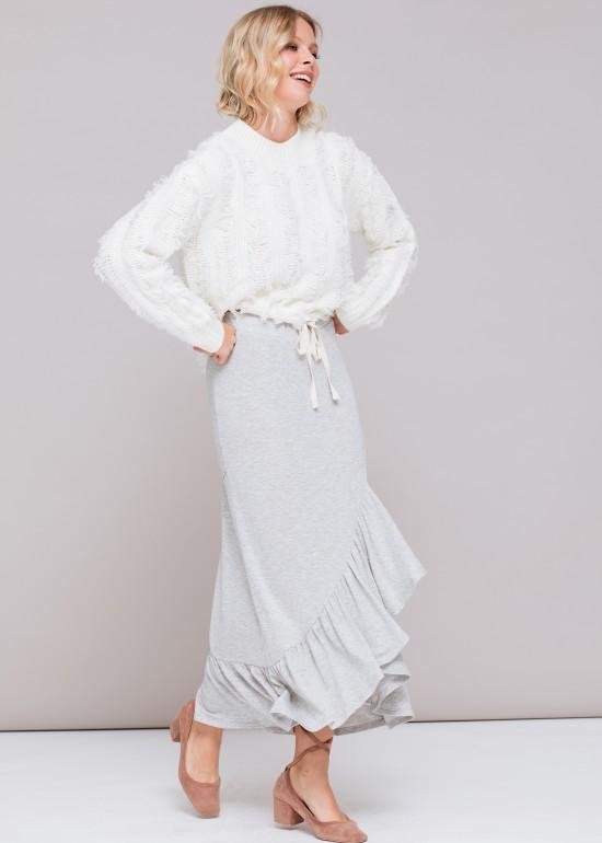 Layered Ruffle Hem Tie Skirt