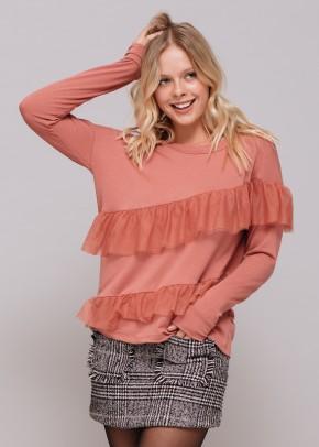 Asymmetrical Ruffle Sweatshirt