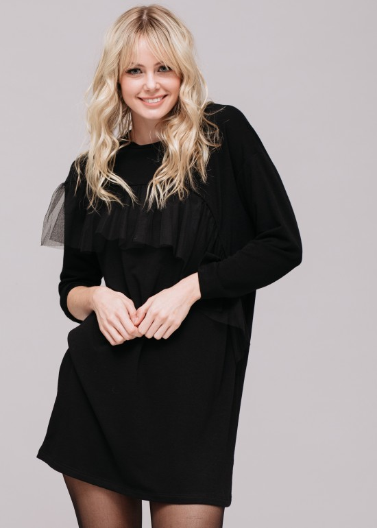 Asymmetrical Ruffle Sweatshirt Dress