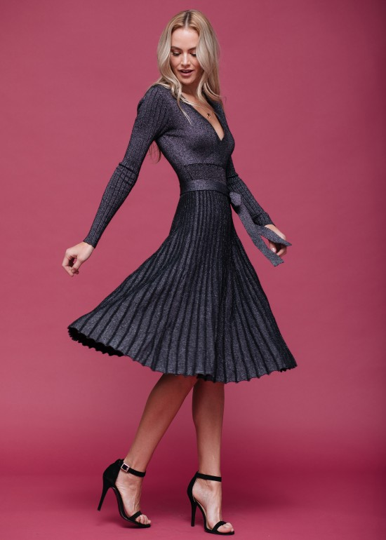 Pleated A Line Dress With Bow