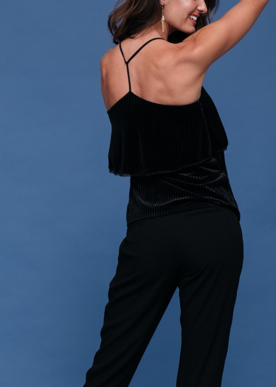 Layered Velvet Camisole with Lace Trim