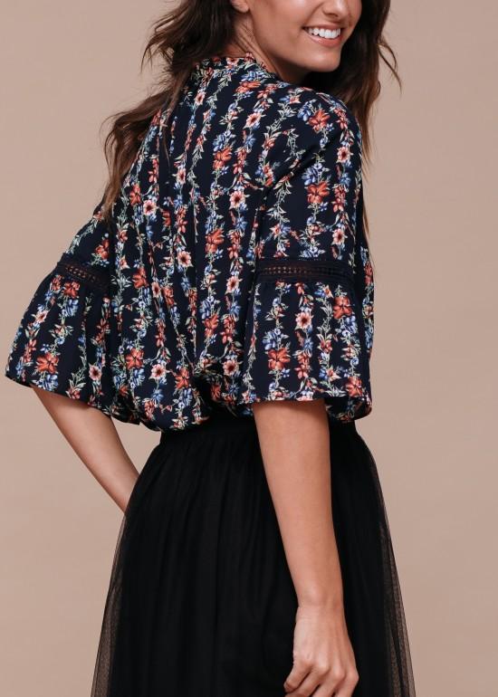 Silk Tie-Neck Ruffle Shirt with Crochet Details
