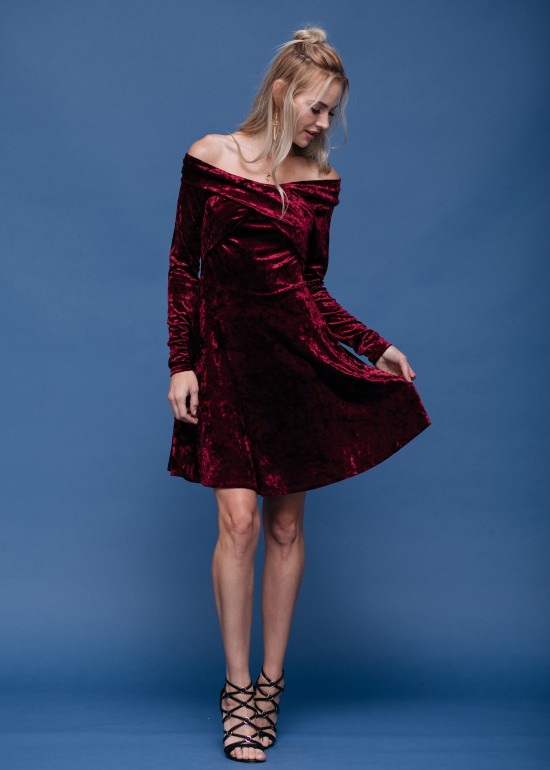 Velvet off shoulder dress