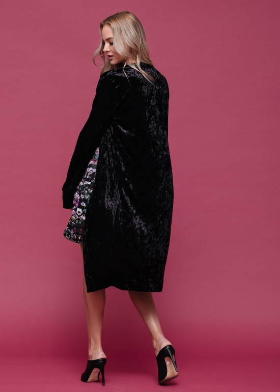 Thigh Long Velvet Coat