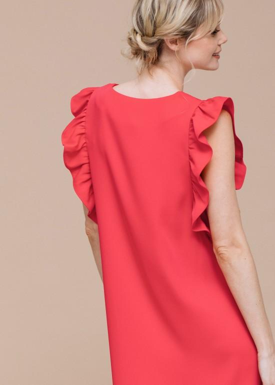 Red Ruffle Sleeve Midi Dress