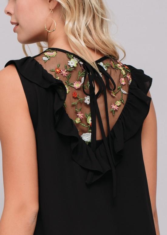 Floral Mesh Peekabo Sleeveless Top
