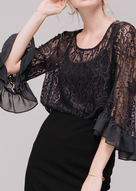 Lace Crew Neck Top with Ruffle Bell Sleeves