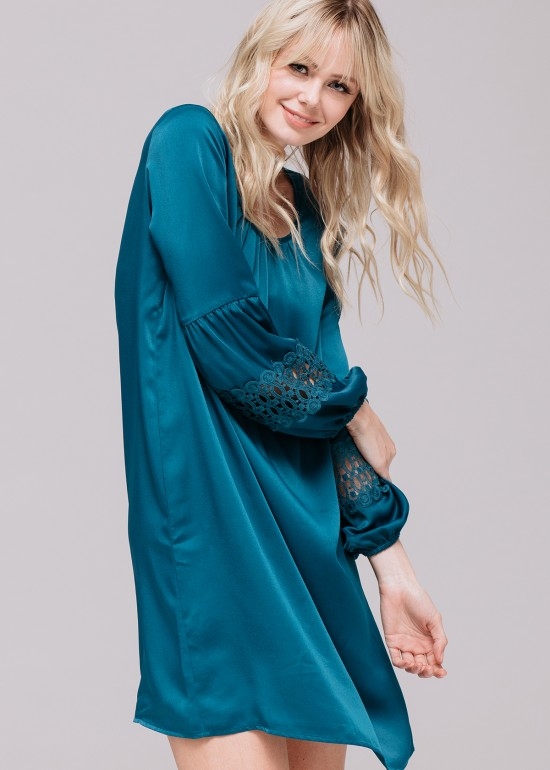 Lace Embroidered Silk Dress