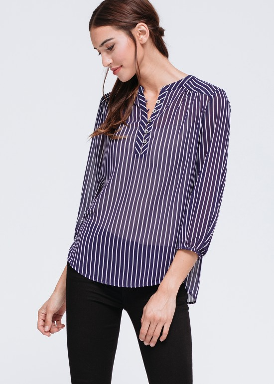 Semi Sheer 3/4 Sleeve Stripe Blouse