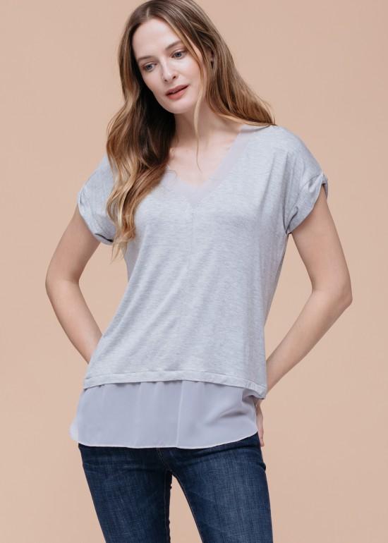 Chiffon Inset Mock Two Piece T-Shirt