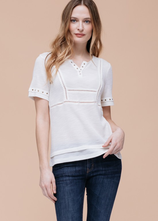 Mock Two Piece Thermal Casual Top
