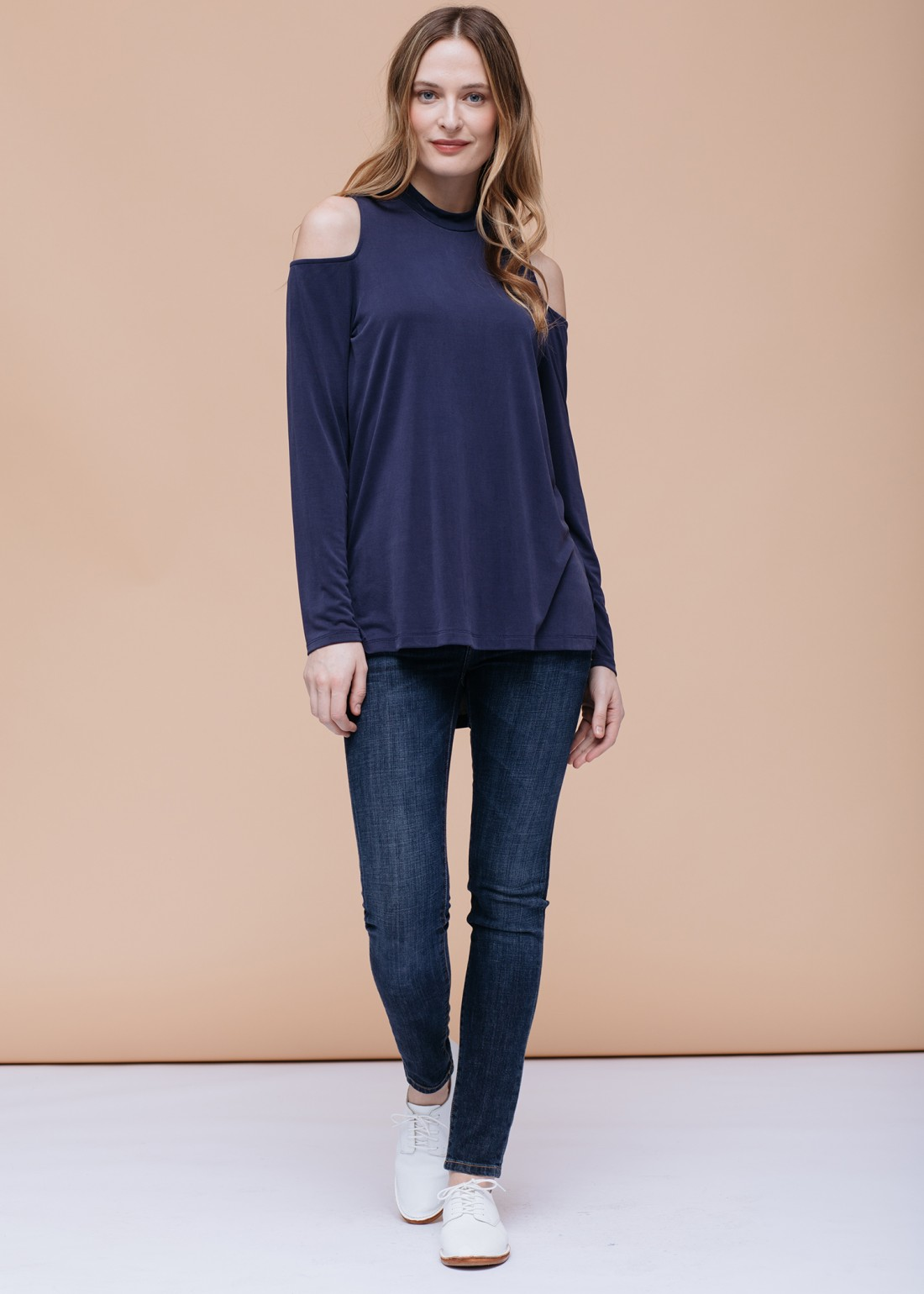 Cold Shoulder Zipper Back Top