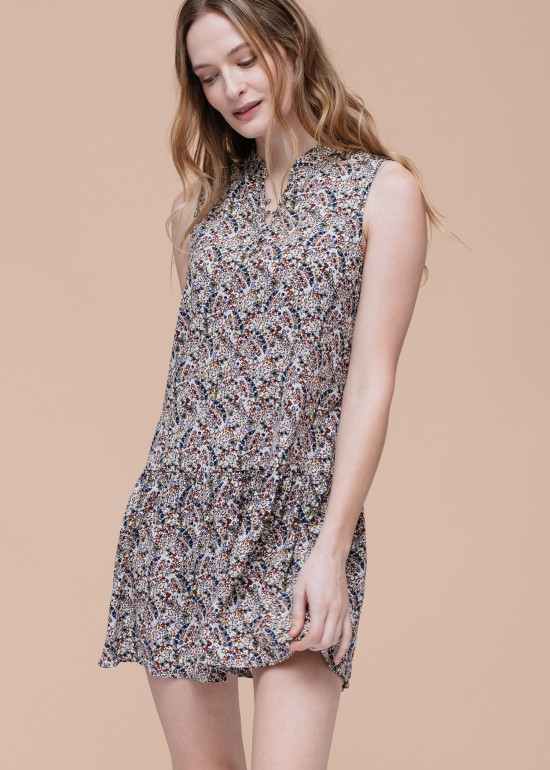 Floral V-Neck Sleeveless Minidress