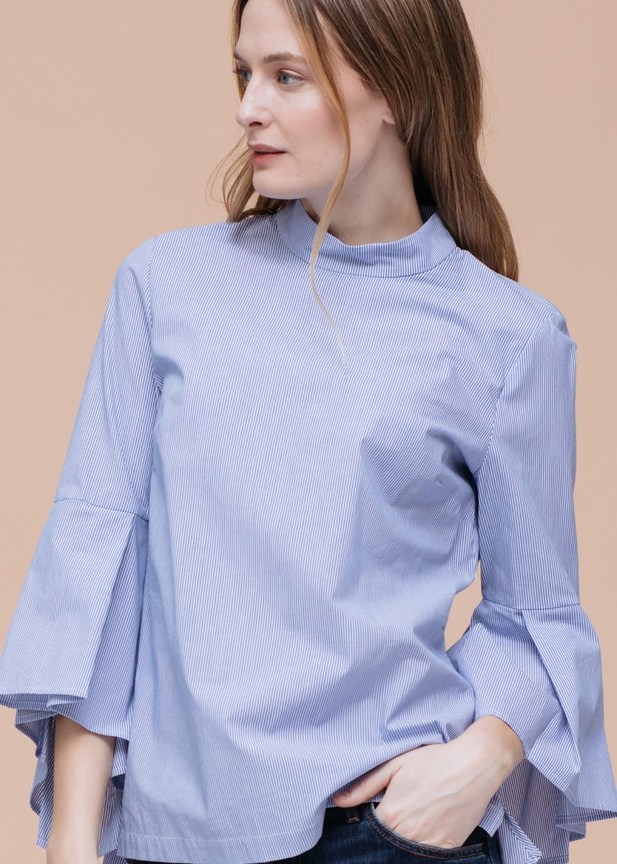 Bell Sleeved Mock Neck Blouse